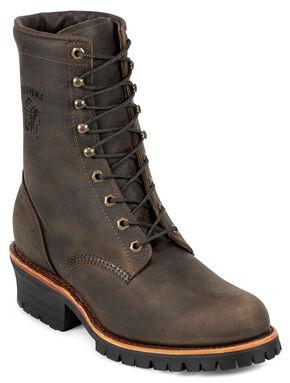 "Chippewa Classic 8"" Logger Boots - Steel Toe, Chocolate, hi-res"