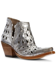 Ariat Women's Dixon Studded Metallic Fashion Booties - Snip Toe, Grey, hi-res