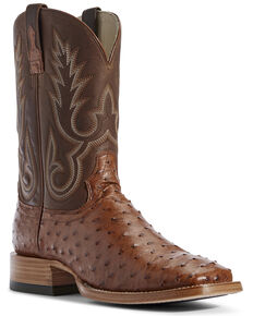Ariat Men's Barker Brandy Full-Quill Ostrich Western Boots - Wide Square Toe, Brown, hi-res