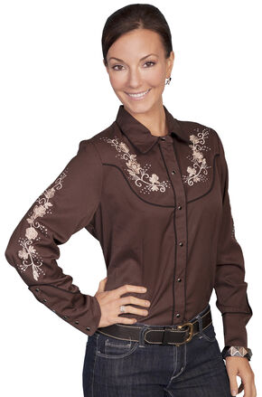 Scully Women's Floral Embroidered Western Blouse, Chocolate, hi-res