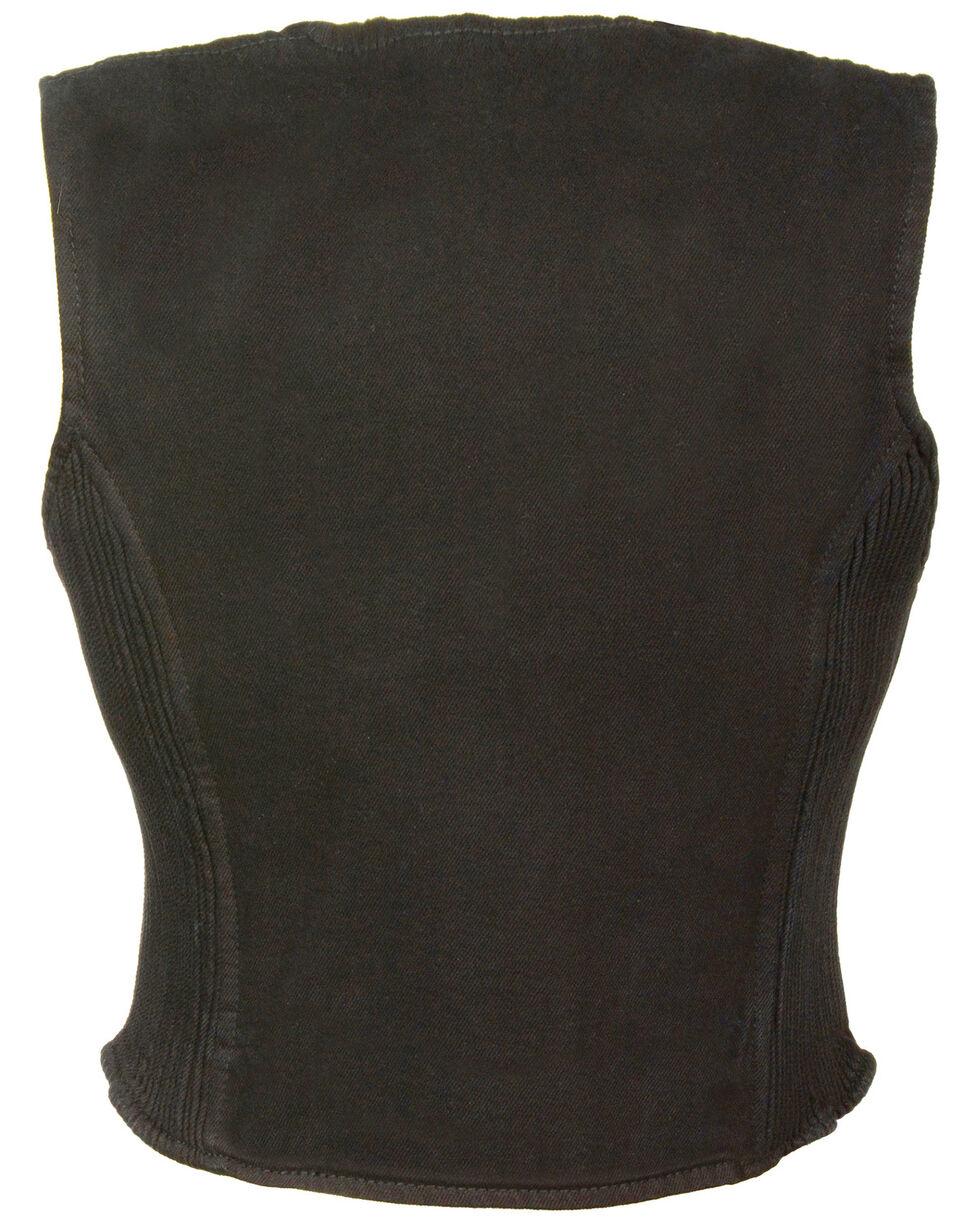 Milwaukee Leather Women's Side Stretch Zipper Front Denim Vest, Black, hi-res