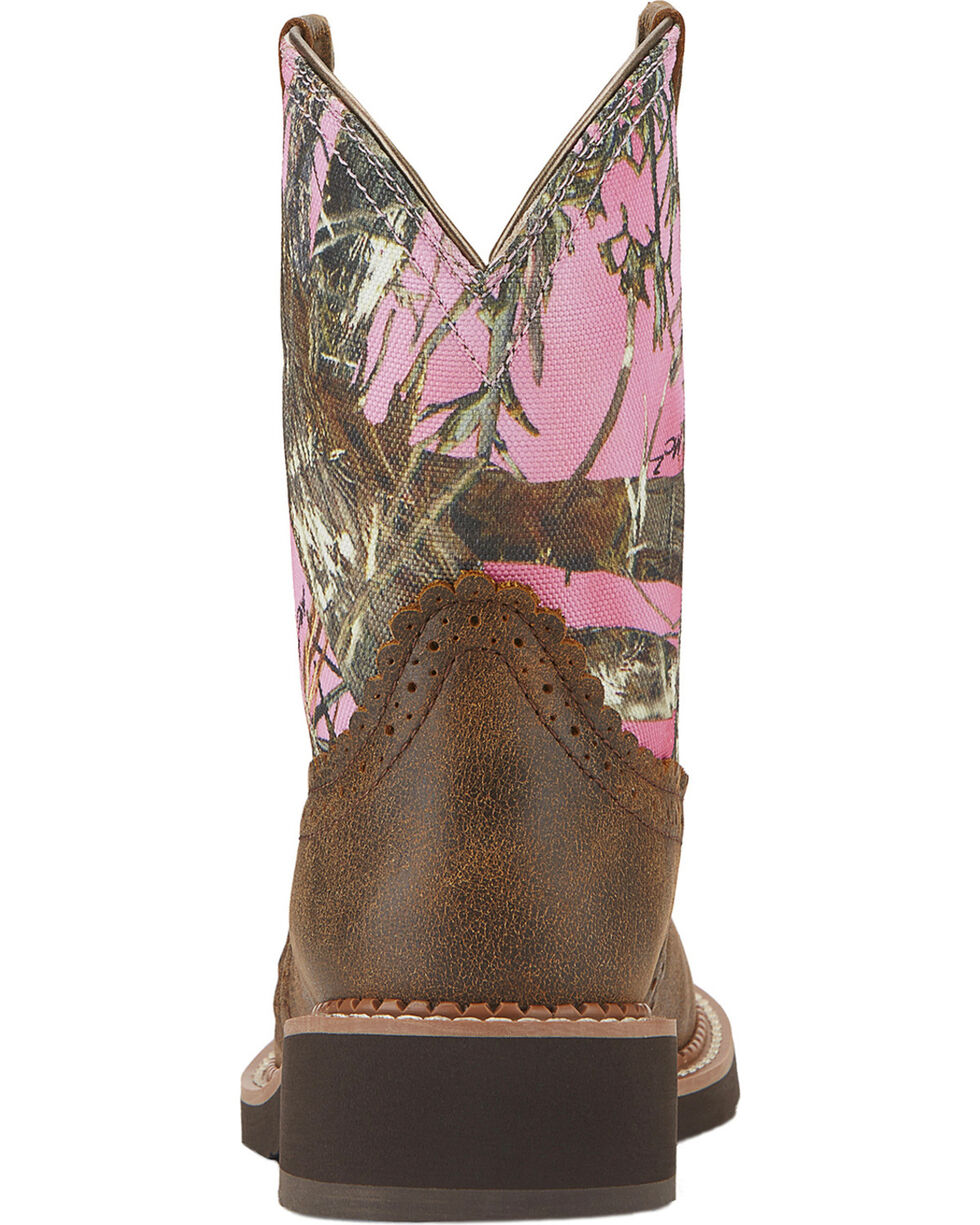 Ariat Fatbaby Vintage Bomber Pink Camo Cowgirl Boots - Round Toe, Brn Bomber, hi-res