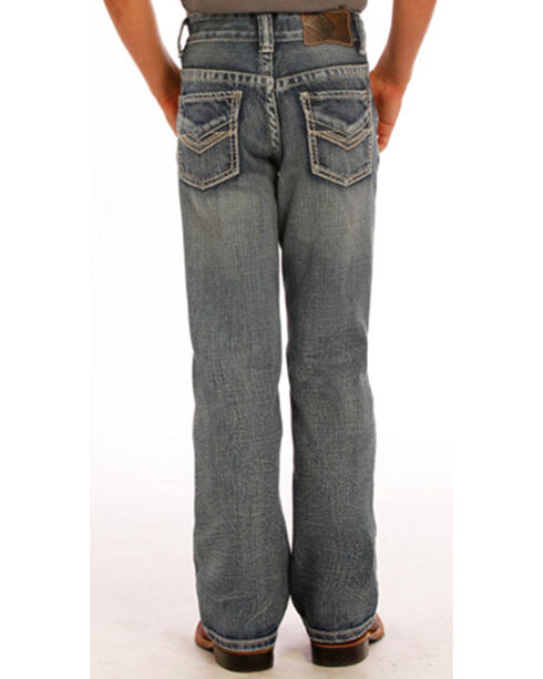 "Rock & Roll Cowboy Boys' Blue ""V"" Embroidery Jeans - Boot Cut, Blue, hi-res"