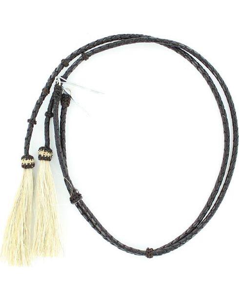 Braided Leather Blonde Horsehair Tassels Stampede String, Black, hi-res