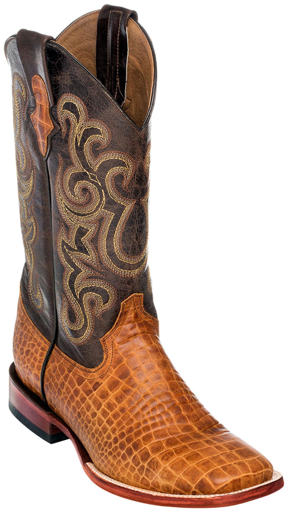 Ferrini Men's Honey Brown Caiman Belly Print Western Boots - Square Toe , Honey, hi-res