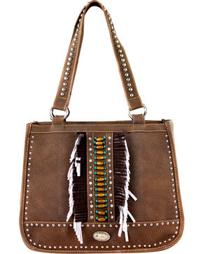 Montana West Women's Indian Beaded Double Strap Concealed Carry Handbag , Brown, hi-res
