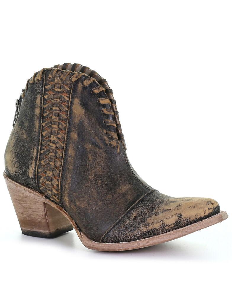 Circle G Women's Woven Fashion Booties - Snip Toe, Black, hi-res