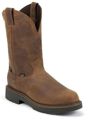 Justin J-Max Waterproof Pull-On Work Boots -  Steel Toe, Aged Bark, hi-res