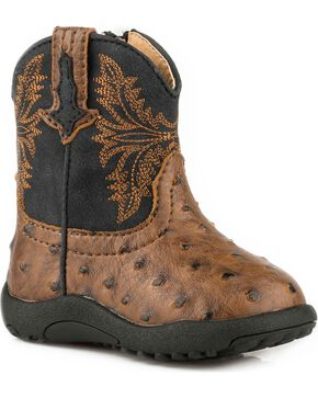 Roper Infant Boys' Jed Brown Ostrich Print Cowbabies Pre-Walker Boots, Brown, hi-res
