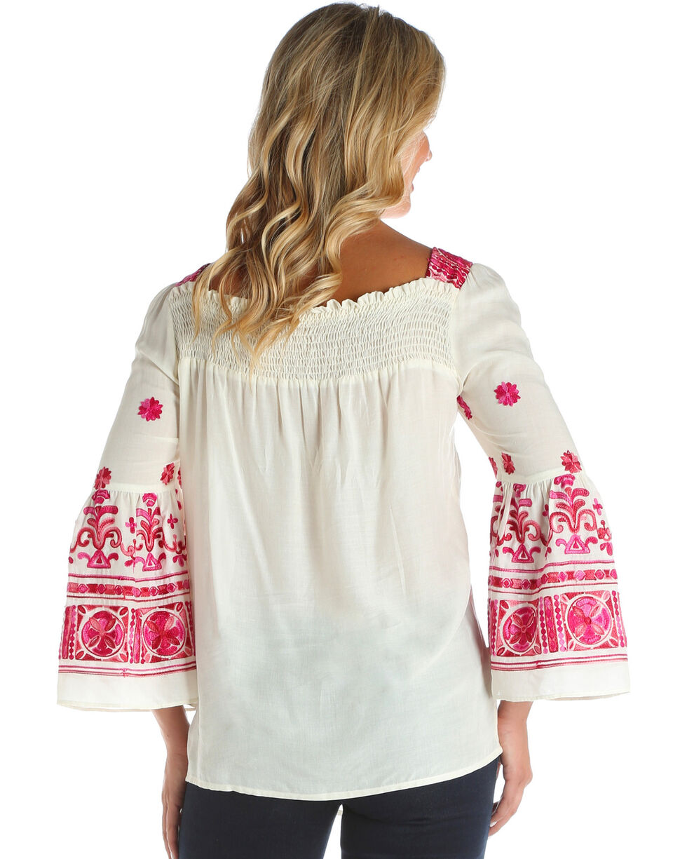 Wrangler Women's Ivory Embroidered Peasant Top , Ivory, hi-res