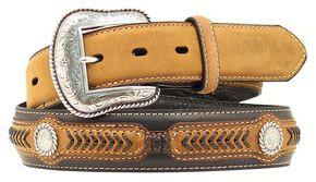 Leather Laced Concho Belt, Black, hi-res