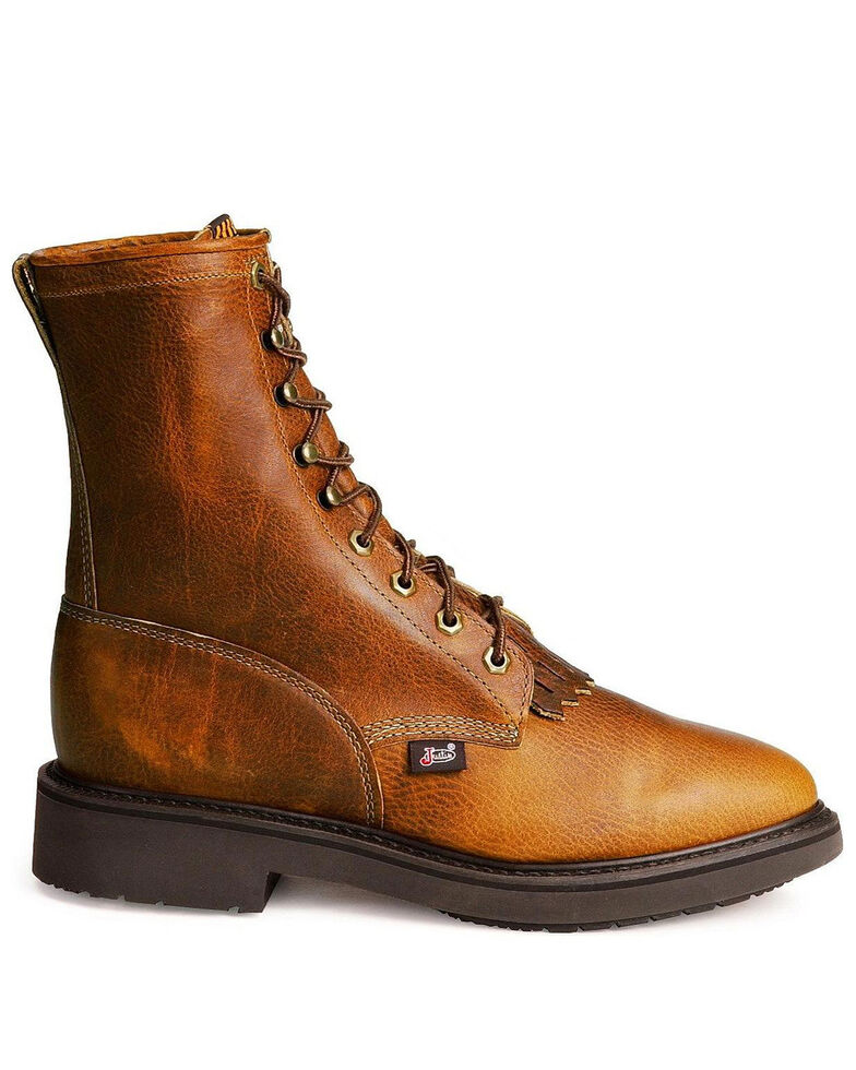 """Justin Men's Conductor 8"""" Lace-Up Work Boots - Soft Toe, Brown, hi-res"""