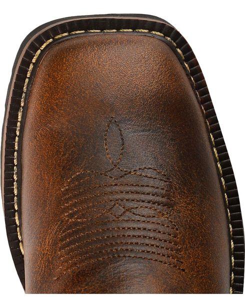 Justin Youth Boys' Stampede Work Boots - Square Toe, Tan, hi-res