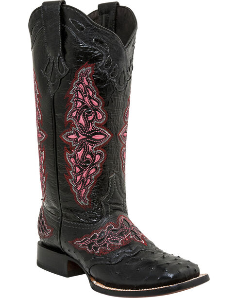 Lucchese Women's Black Amberlyn Full Quill Ostrich Boots - Square Toe , Black, hi-res