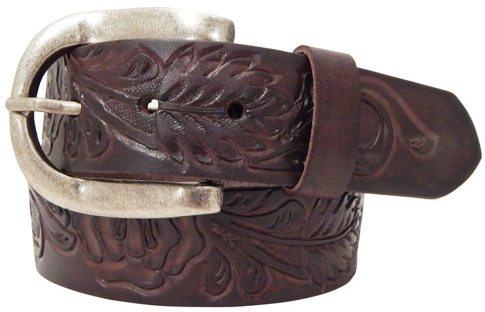 Roper Brown Women's Hand-tooled Leather Belt, Brown, hi-res