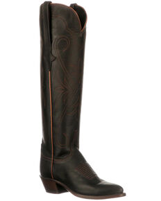 Lucchese Women's Saltillo Tall Western Boots - Round Toe, Black, hi-res