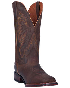 Dan Post Women's Brown Western Boots - Wide Square Toe, Brown, hi-res