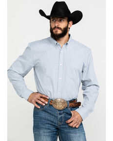 Cody James Core Men's East Fork Plaid Long Sleeve Western Shirt - Tall , Blue, hi-res