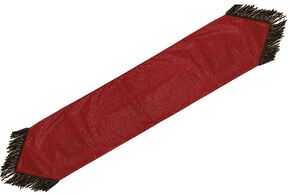 HiEnd Accents Red Tooled Faux Leather Table Runner, Red, hi-res