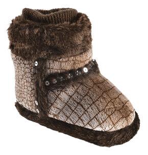 Blazin Roxx Infant Girls' Heart Brown Plush Bootie Slippers, Brown, hi-res