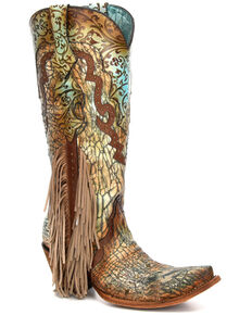 Corral Women's Turquoise Overlay Studded Fringe Leather Western Boots - Snip Toe, Turquoise, hi-res