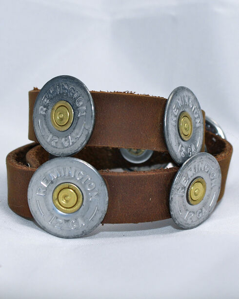 SouthLife Supply Cognac Leather Wrap with Antique Silver Shotshells, Silver, hi-res