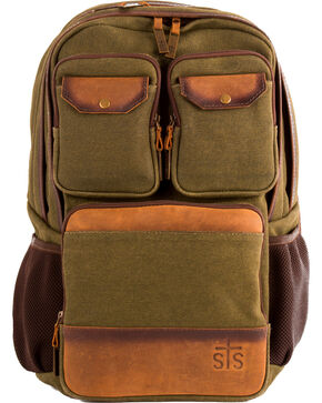 STS Ranchwear Foreman Military Green Canvas Backpack, Moss Green, hi-res