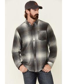 North River Men's Steel Grey Barn Plaid Long Sleeve Western Flannel Shirt, Dark Grey, hi-res