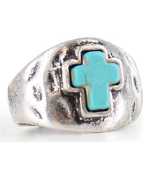 Shyanne Women's Antiqued Turquoise Cross Ring, Silver, hi-res