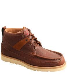 Twisted X Men's Lace Wedge Boots - Moc Toe, Brown, hi-res