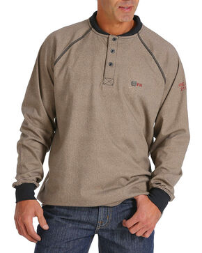 Cinch Men's WRX Flame Resistant Long Sleeve Thermal Henley, Tan, hi-res