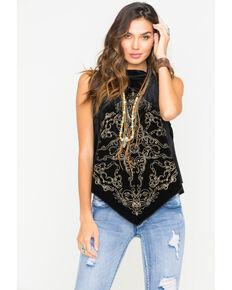 MI. OH. MI. Women's Sleeveless Velvet Bandana Top, Black, hi-res