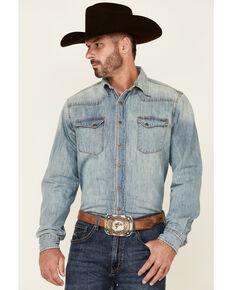 Tin Haul Men's Light Wash Denim Long Sleeve Snap Western Shirt , Blue, hi-res