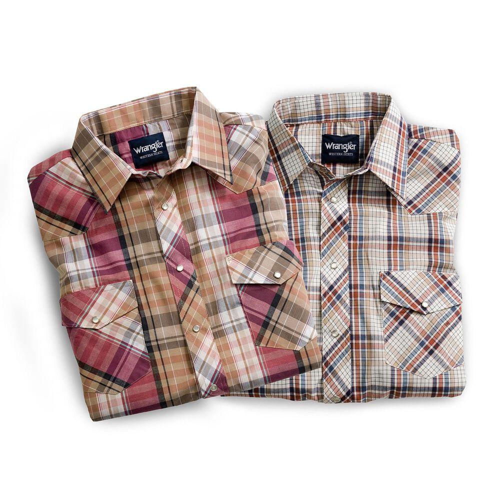 Wrangler Men's Assorted Long Sleeve Western Shirt - Big & Tall, Plaid, hi-res