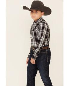 Cody James Boys' Willow Plaid Long Sleeve Western Shirt , Black/blue, hi-res