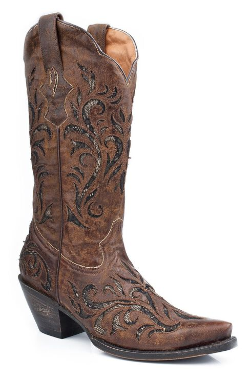 Stetson Distressed Underlay Cowgirl Boots- Snip Toe, Brown, hi-res