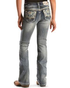Grace in L.A. Girls' Medallion Bootcut Jeans - 7-16, Denim, hi-res