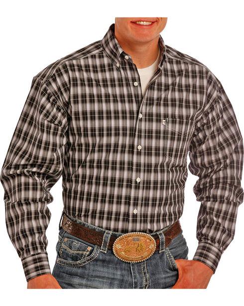 Panhandle Men's Black Ombre Striped Long Sleeve Shirt , Black, hi-res