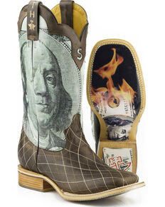 Tin Haul Mens Money to Burn with Hundred Dollar Bill Sole Cowboy Boots -  Square Toe