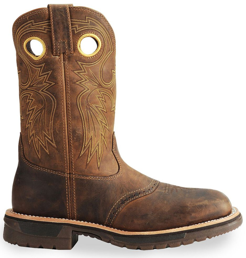 Rocky Men's Original Ride Western Work Boots - Steel Toe, Brown, hi-res