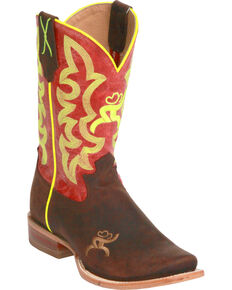 Twisted X Women's Red and Neon Yellow Hooey Cowgirl Boots - Square Toe, Crazyhorse, hi-res