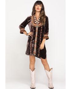 Johnny Was Women's Coco Chiri Velvet Dress, Brown, hi-res