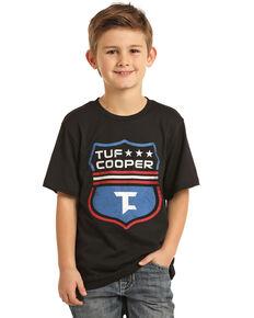 Rock & Roll Denim Boys' Tuf Cooper Shield Graphic T-Shirt , Black, hi-res