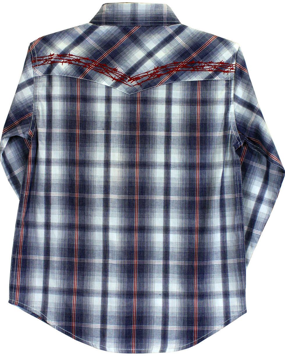 Cowboy Hardware Boys' Barbed Wire Plaid Long Sleeve Shirt, Blue, hi-res