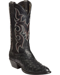 Nocona Men's Full Quill Ostrich Cowboy Boots - Medium Toe, Black, hi-res