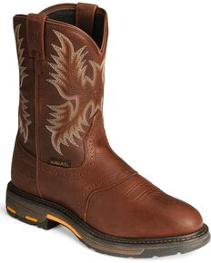 Ariat Workhog Pull-On Work Boots, Copper, hi-res