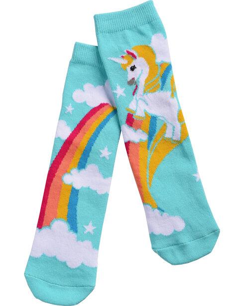 Shyanne Girls' Unicorn Rainbow Crew Socks, Light Green, hi-res