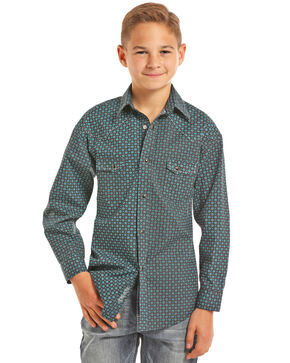 Rock & Roll Cowboy Boys' Teal Print Long Sleeve Snap Shirt, Teal, hi-res