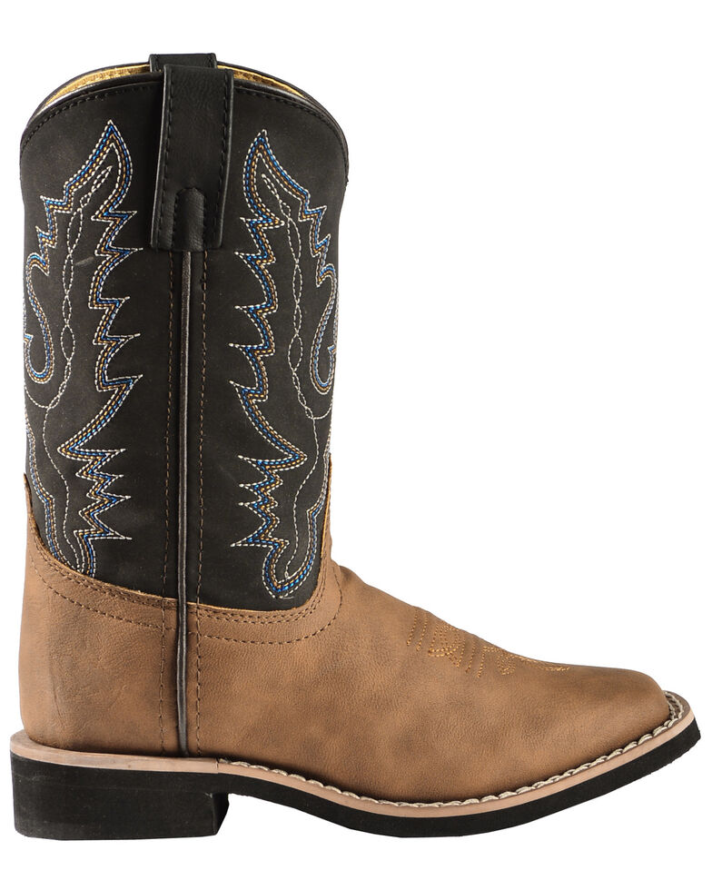 Swift Creek Youth Boys' Black and Tan Cowboy Boots - Square Toe, , hi-res
