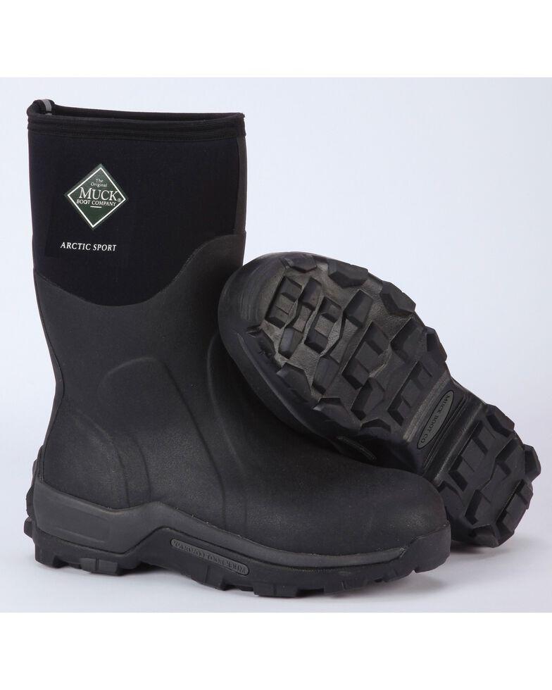 Muck Men's Black Arctic Sport Mid High Performance Sport Boots, Black, hi-res